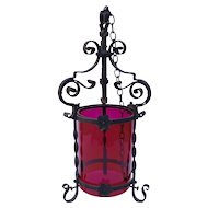 Antique French Wrought Iron Lantern with Deep Pink Glass