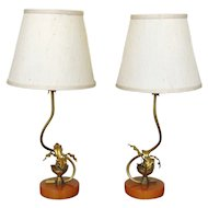 Pair of Vintage Gilt and Bakelite Lamps