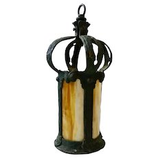 Hand Hammered Iron Lantern with Slag Glass
