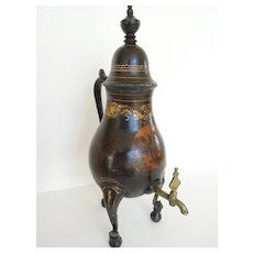Beautiful Antique Pewter Chinoiserie Coffee Urn