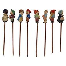 Set of Vintage Wood Food Picks with Carved Hand Painted Children Figures, Cake Picks