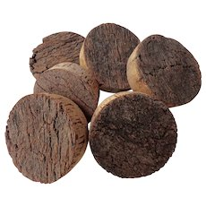 Set of Six Vintage Large Cork Rounds