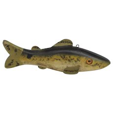 Vintage Wood Fishing Lure Decoy Carved Hand Painted with Glass Eyes