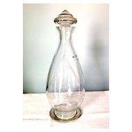 Art Deco English Glass Decanter with Decorative Knob & Ship Engraving
