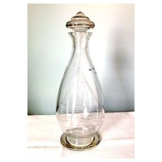 Art Deco English Glass Decanter with Decorative Knob & Ship Engraving