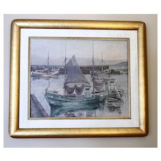 Vintage Framed Oil Painting with Boats, Danish