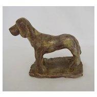 Mid Century Ceramic Pottery Dog, 1947, Signed