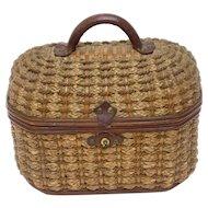 Antique French Basket Woven Purse, Handbag