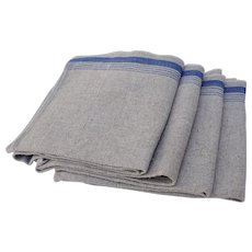 Set of Four Vintage Linen Napkins with Blue Stripe