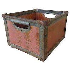 Rare Vintage Nantucket Red Metal Open Crate Storage Bin
