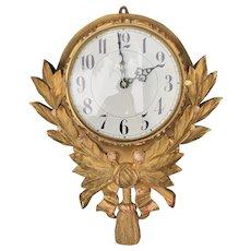 Vintage Swedish Gilt Wood Wall Clock Mount