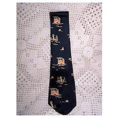 Vintage Silk Showboat Necktie by Lilly Dache