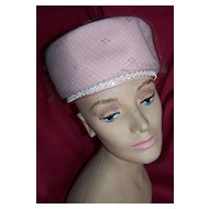 """Vintage Pink Pill Box """"Jackie"""" Style Hat, Circa 1960's"""