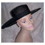 Vintage 1950's Black Wide Brim Hat