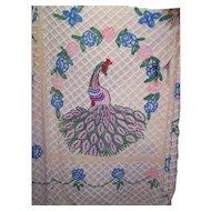 Impeccable Vintage Peacock Chenille Bedspread