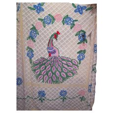 Impeccable Vintage Peacock Chenille Bedspread