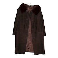 Vintage Ladies 1960's Suede Coat with Mink Collar