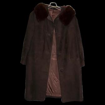 Vintage Ladies 1960's Suede Coat with Mink Collar