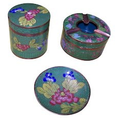 Vintage Cloisonne 3 Piece Smoking Set