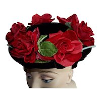 Vintage Velvet Red Roses on Black Velvet Hat
