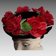 Vintage Velvet Red Roses on Black Velvet Hat
