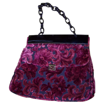 Vintage Burgundy Burnout Velvet Handbag by Michels-Drew