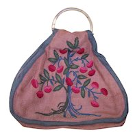 Vintage Embroidered Burlap Flower Child Purse