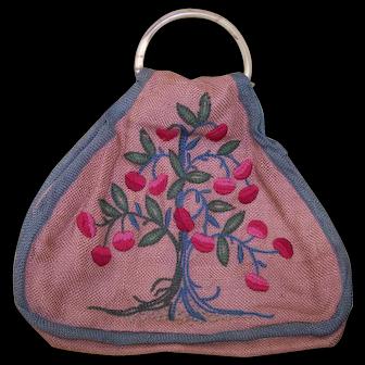 Vintage Embroidered Burlap Flower Child Purse