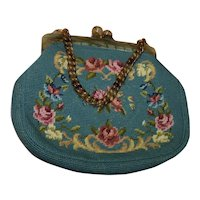 Stunning Needlework Purse W/ Gorgeous Lucite Clasp & Chain