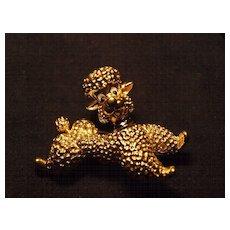 Vintage Jomar Gold Toned Poodle Brooch