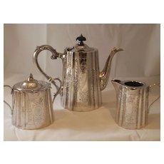 Early 20th Century Edwardian Barker & Ellis Silver 3-Piece Tea Set