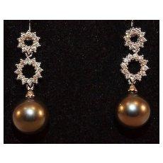 14K Gold Cultured Tahitian Pearl and Diamond Drop Earrings