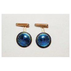 Art Deco 14K Gold Blue Guilloche and Enameled Cufflinks