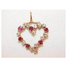 Ruby and Diamond 14K Gold Heart Pendant