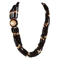 Trianon Onyx and Cultured Pearl Bead Necklace with Mabe Pearl and Diamond Clasp