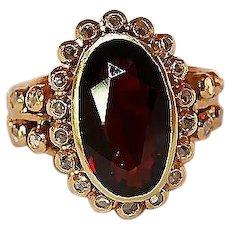 18K Gold Garnet and Rose Cut Diamond Ring