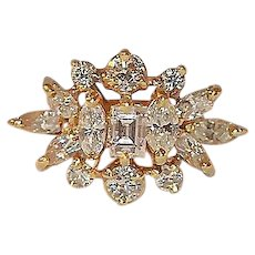 18K Yellow Gold and Diamond Cocktail Ring