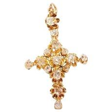 17th Century Diamond and Gold Cross Pendant