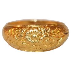 Rare 23k Yellow Gold Ring with Engraved Chrystanthemums