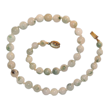 Vintage Chinese Mutton Fat Jade Bead Necklace with .800 Silver Clasp