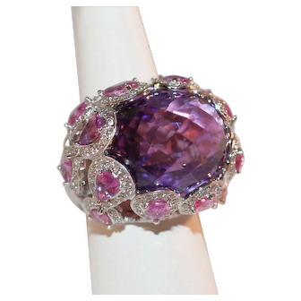 Spectacular 18k Gold Amethyst Pink Sapphire and Diamond Cocktail Ring