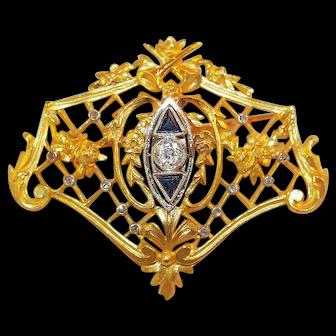 Lacloche Freres Art Nouveau Diamond Sapphire and 18K Gold Brooch/Pendant