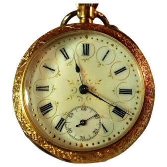 Swiss Gentleman's 18K Gold Open Faced Pocket Watch with Intricate Gilt Dial