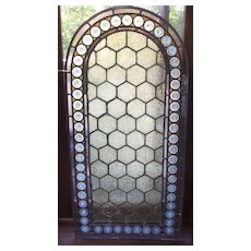American arched top stained glass with 54 pressed jeweled border