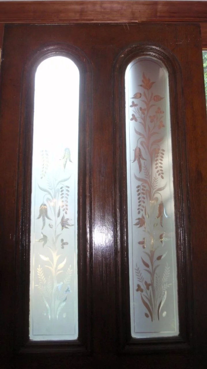Victorian Door With Beautiful Etched Glass Panels Coming