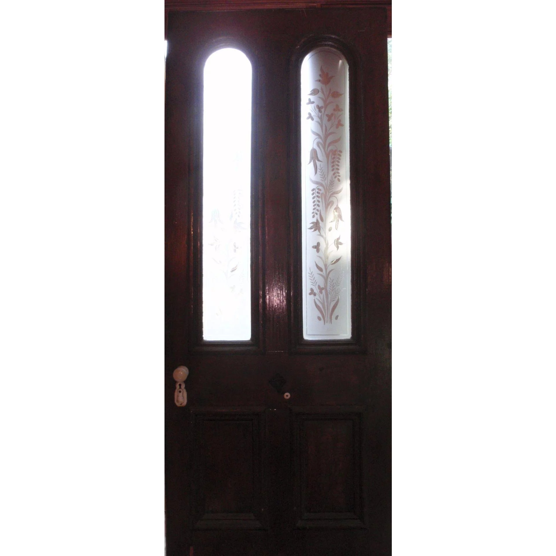 Victorian Door With Beautiful Etched Glass Panels Coming Up Roses