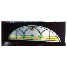 Lovely mission rose stained glass  arched window