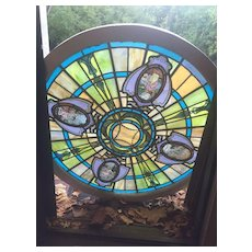 Quite unusual painted and fired  circular stained glass window