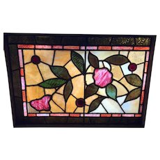 Eastlake stained glass floral window