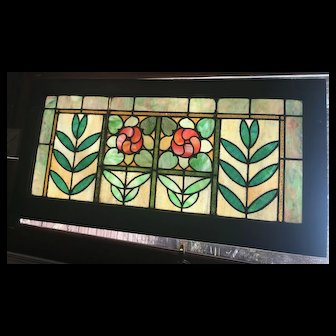 Circa 1910 stained glass floral window